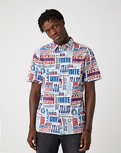 Short Sleeve Relaxed Shirt in Text Mania