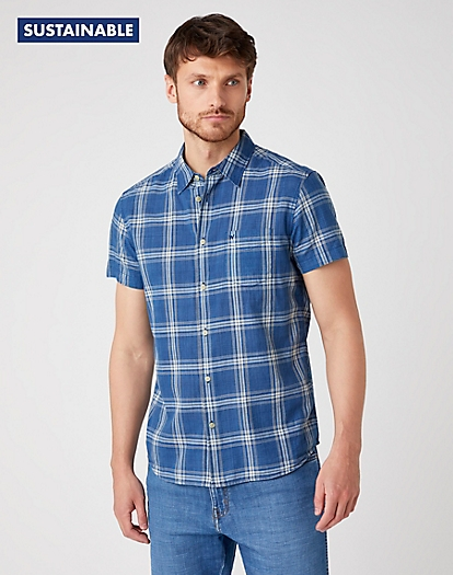 Short Sleeve One Pocket Shirt in Dark Indigo