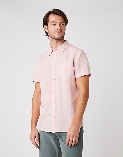 Short Sleeve One Pocket Shirt in Silver Pink
