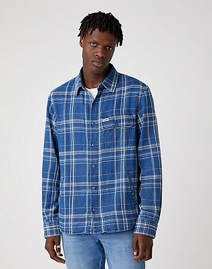 Long Sleeve Overshirt in Mid Indigo