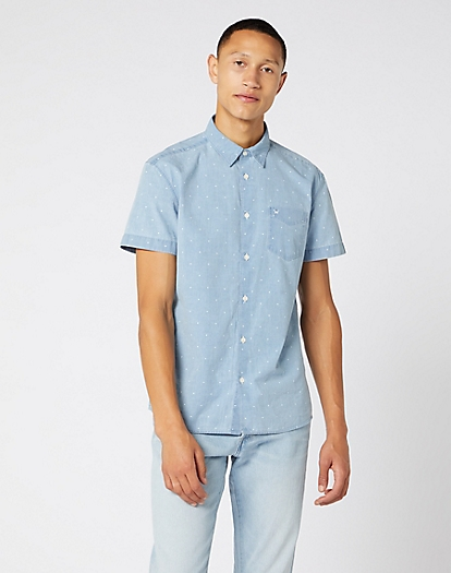 Short Sleeve One Pocket Shirt in Cerulean Blue