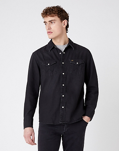 Indigood Icons 27MW Western Shirt in Black Washed