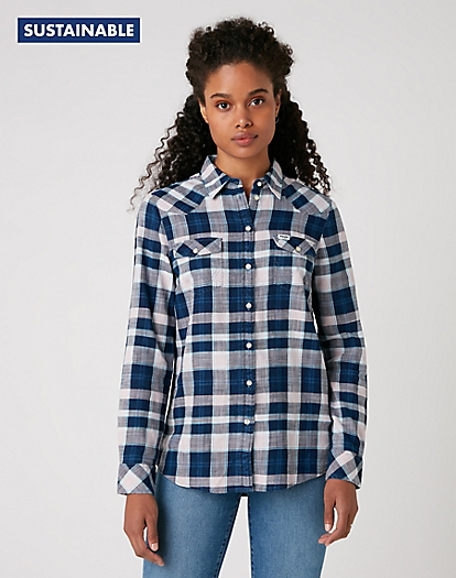 Western Check Shirt in Silver Pink