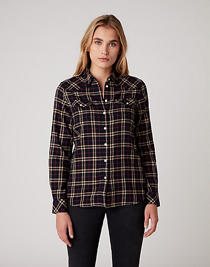 Western Check Shirt in Navy