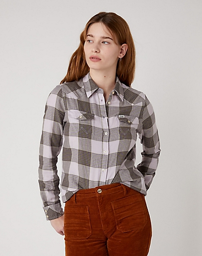 Western Check Shirt in Iris Purple