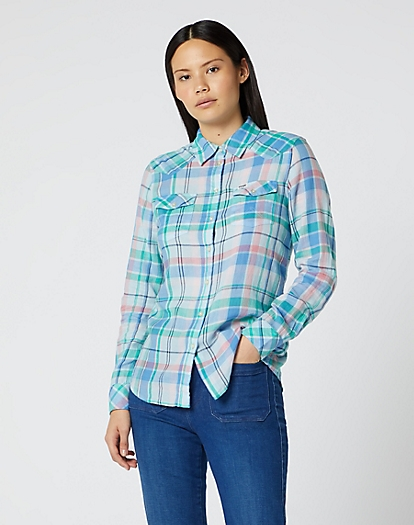 Western Check Shirt in Cashmere Blue