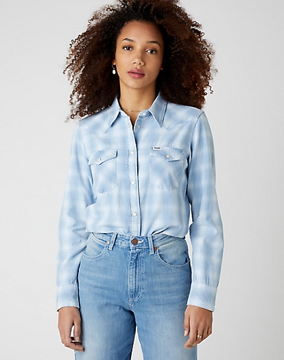 Western Check Shirt in Light Indigo