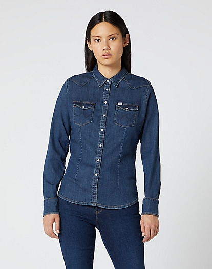 Slim Western Shirt in Mid Indigo