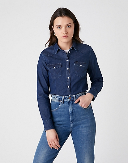 Slim Western Shirt in Dark Indigo