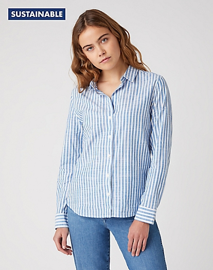 Stripe Shirt in Strong Blue
