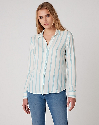 Stripe Shirt in Carribean Sea