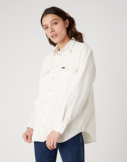 Corduroy Shirt in Whisper White