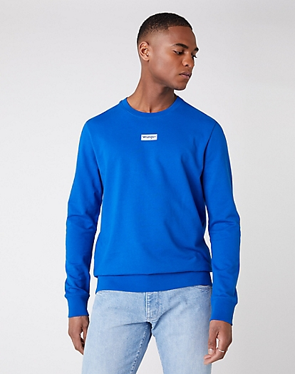 Logo Crew Sweater in Wrangler Blue