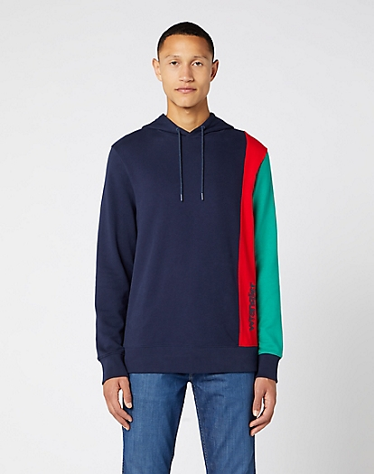 Colour Block Hoodie in Navy
