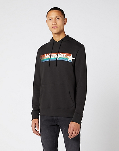 Wrangler Logo Hoodie in Faded Black
