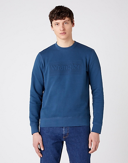 Tonal Logo Sweater in Dark Blue Teal