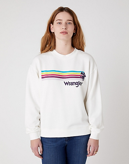 Retro Logo Sweater in Off White
