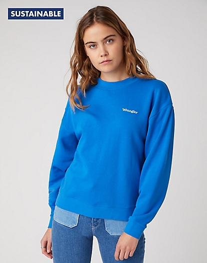 Retro Logo Sweater in Strong Blue