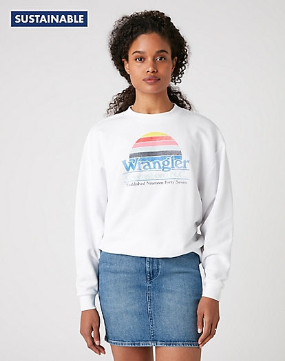 Retro Logo Sweater in Real White