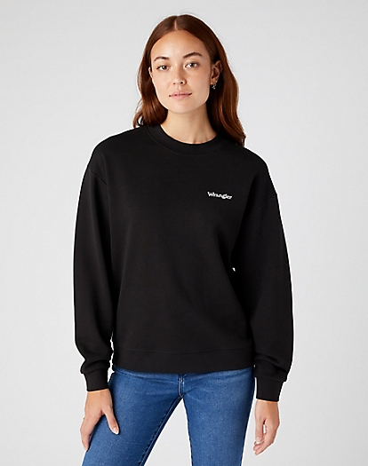 Retro Logo Sweater in Worn Black