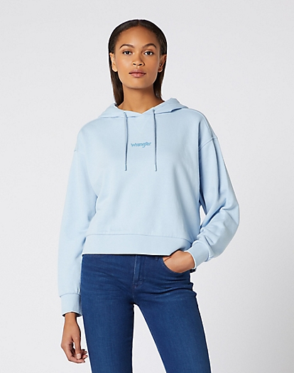 Cropped Hoodie in Cashmere Blue