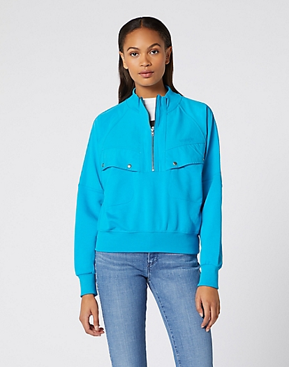 Utility Zip Sweater in Carribean Sea