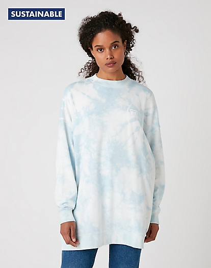 Oversized Sweater in Blue Tie Dye