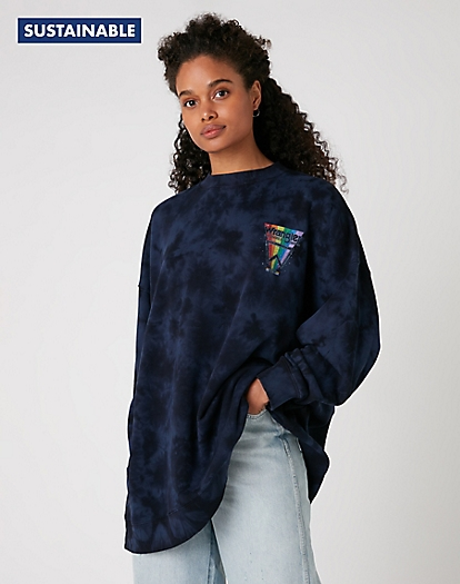 Oversized Sweater in Navy Irregular Dye