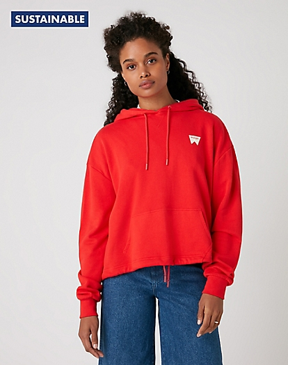 Drawcord Hoody in Flame Red