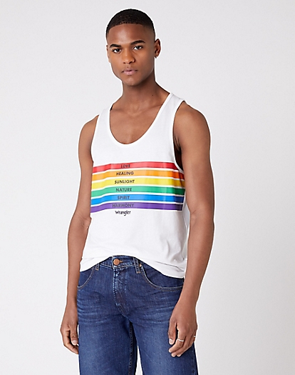 Pride Rainbow Tank in White