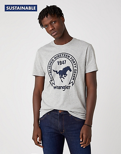 Short Sleeve Americana Tee in Mid Grey Mel