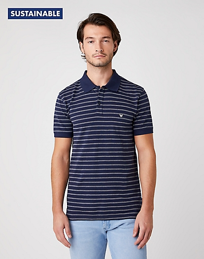 Short Sleeve Stripe Polo in Navy