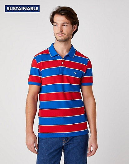 Short Sleeve Stripe Polo in Rococco Red
