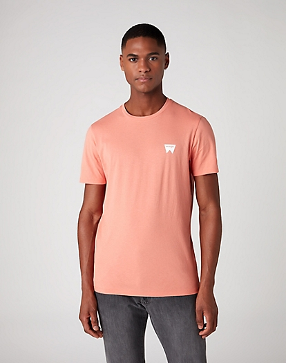 Short Sleeve Sign Off Tee in Melon Orange