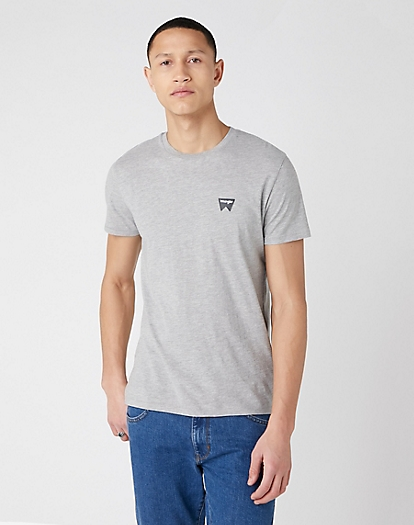 Short Sleeve Sign Off Tee in Mid Grey Mel