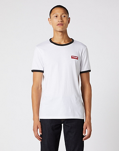 Short Sleeve Ringer Tee in White