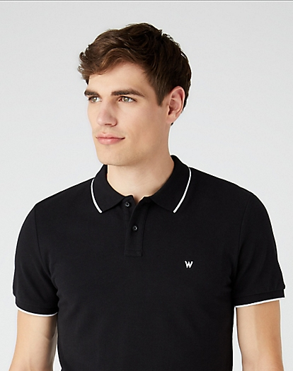 Short Sleeve Pique Polo in Black