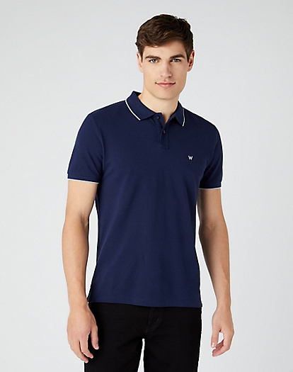 Short Sleeve Pique Polo in Navy