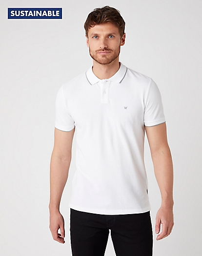 Short Sleeve Pique Polo in White