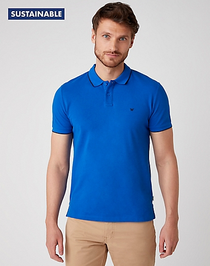 Short Sleeve Pique Polo in Wrangler Blue