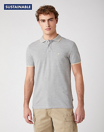 Short Sleeve Pique Polo in Mid Grey Mel