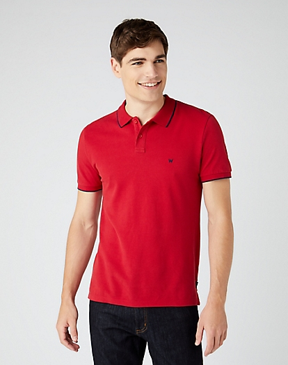 Short Sleeve Pique Polo in Red