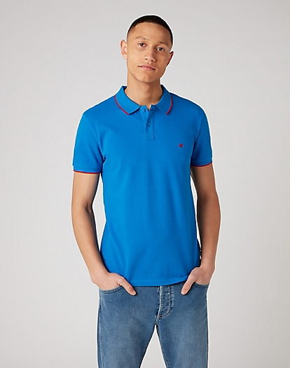 Short Sleeve Pique Polo in Directoire Blue