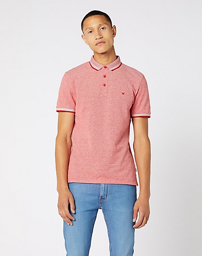 Short Sleeve Refined Polo in Formula Red