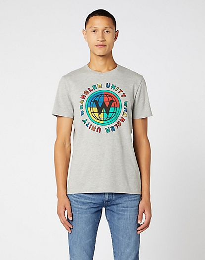 Short Sleeve Globe Tee in Mid Grey Mel