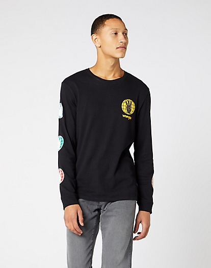 Long Sleeve Wrangler Tee in Black