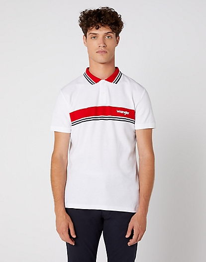 Short Sleeve Colour Block Polo in White