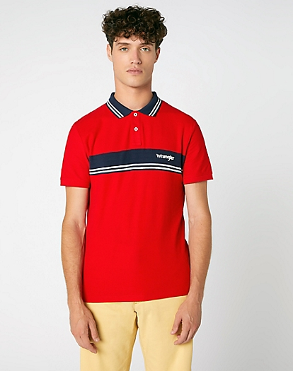 Short Sleeve Colour Block Polo in Formula Red