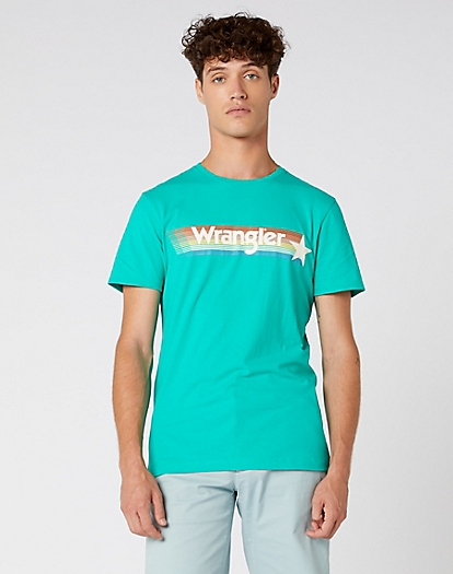 Short Sleeve Rainbow Tee in Peacock Green
