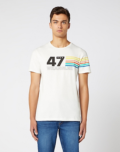 Short Sleeve Rainbow Tee in Off White